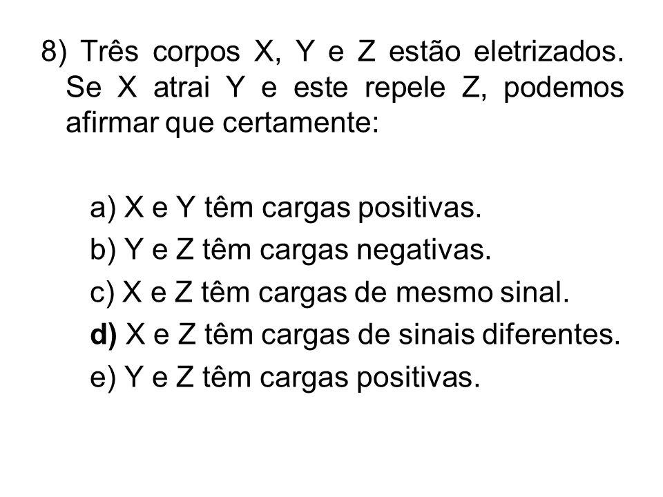 8) Três corpos X, Y e Z estão eletrizados
