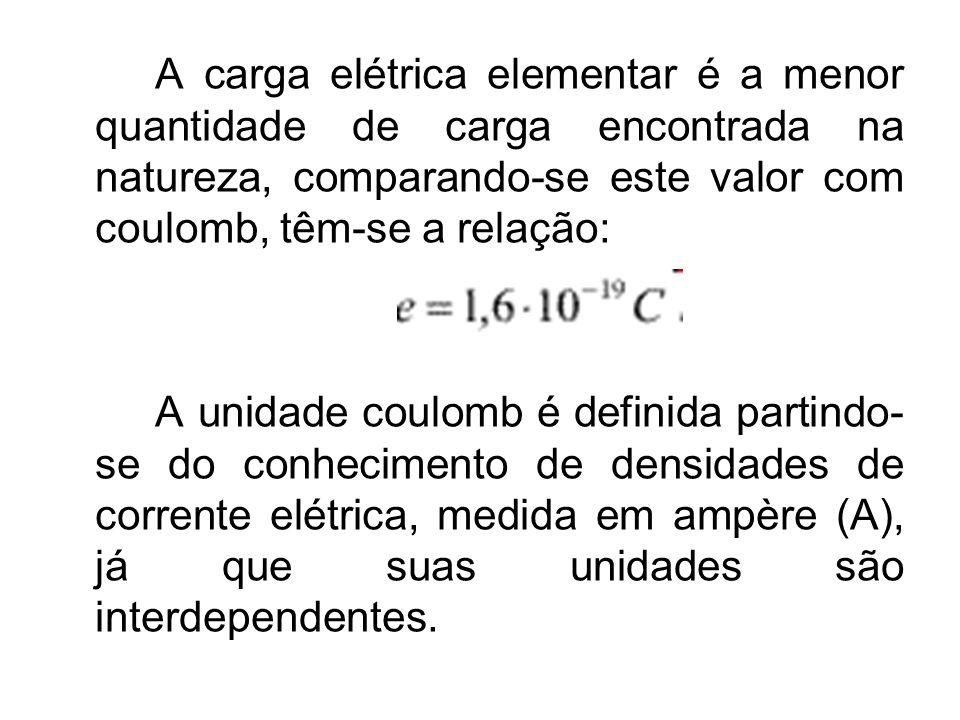 A carga elétrica elementar é a menor quantidade de carga encontrada na natureza, comparando-se este valor com coulomb, têm-se a relação: