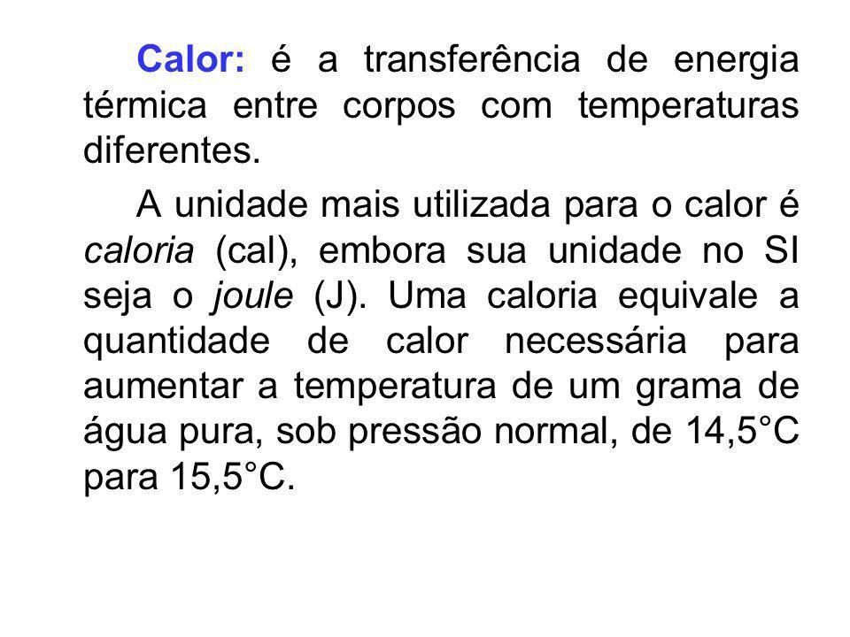 Calor: é a transferência de energia térmica entre corpos com temperaturas diferentes.