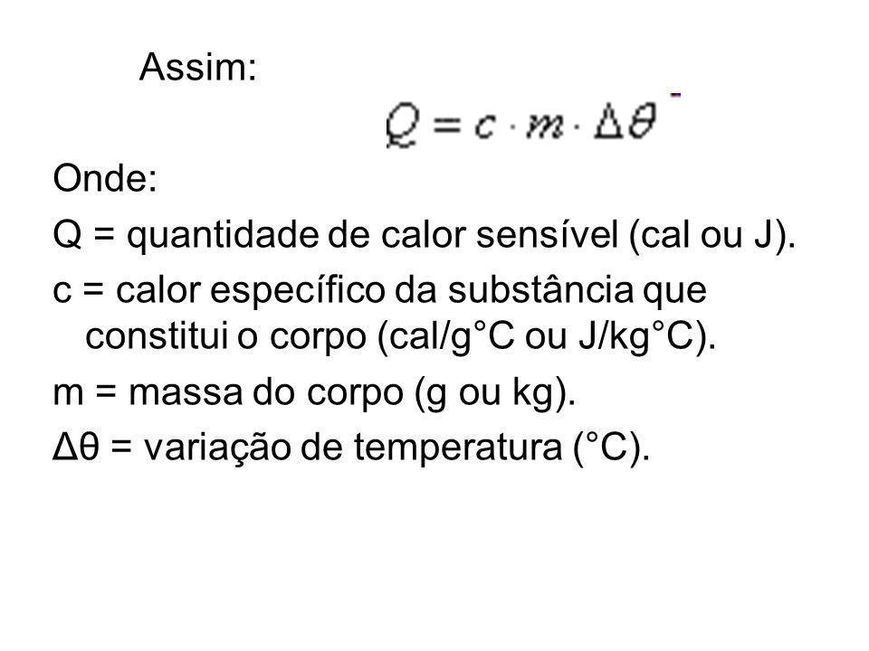 Assim: Onde: Q = quantidade de calor sensível (cal ou J). c = calor específico da substância que constitui o corpo (cal/g°C ou J/kg°C).