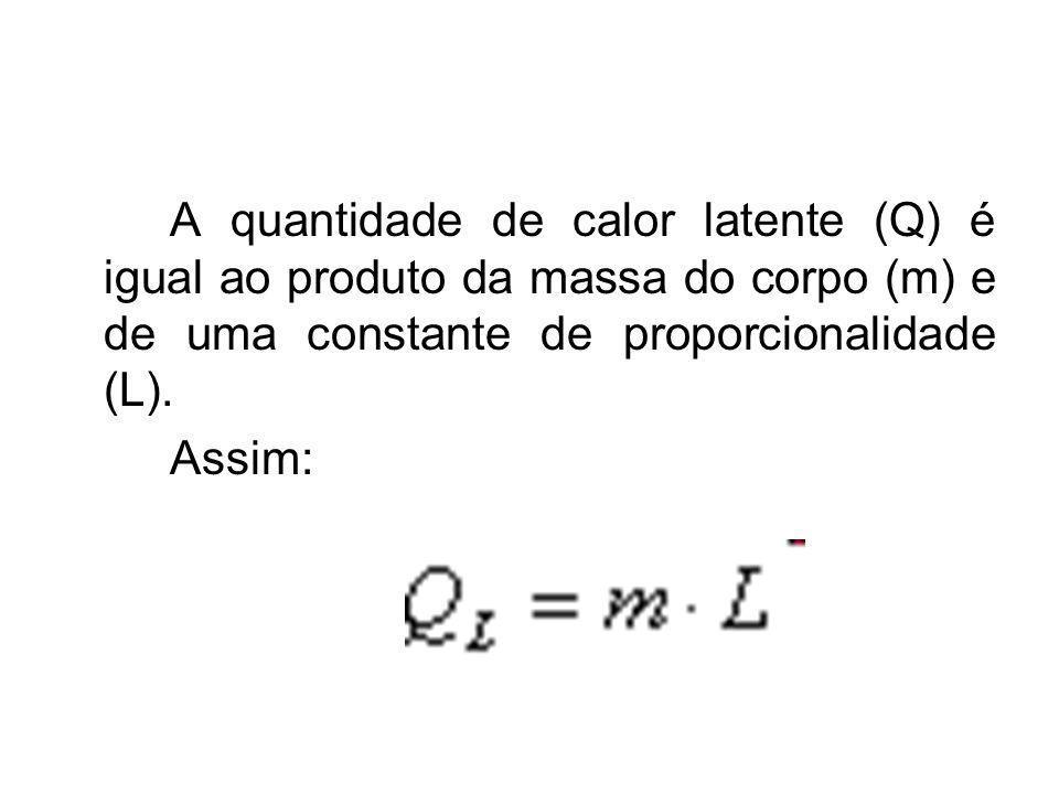A quantidade de calor latente (Q) é igual ao produto da massa do corpo (m) e de uma constante de proporcionalidade (L).