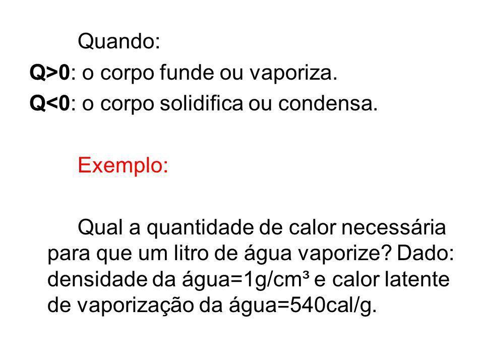 Quando: Q>0: o corpo funde ou vaporiza. Q<0: o corpo solidifica ou condensa. Exemplo: