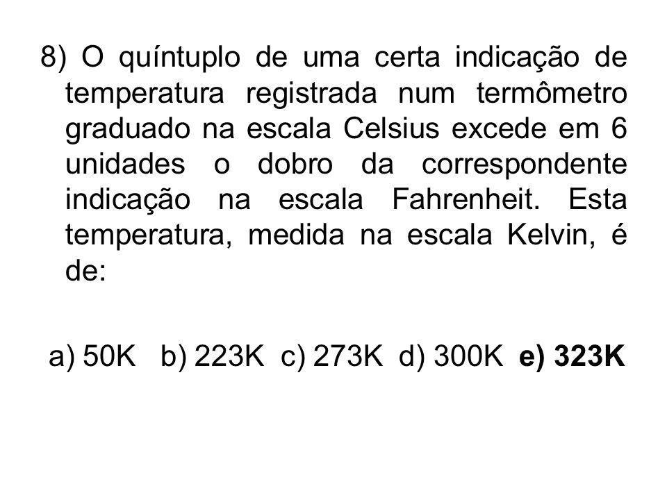 8) O quíntuplo de uma certa indicação de temperatura registrada num termômetro graduado na escala Celsius excede em 6 unidades o dobro da correspondente indicação na escala Fahrenheit. Esta temperatura, medida na escala Kelvin, é de: