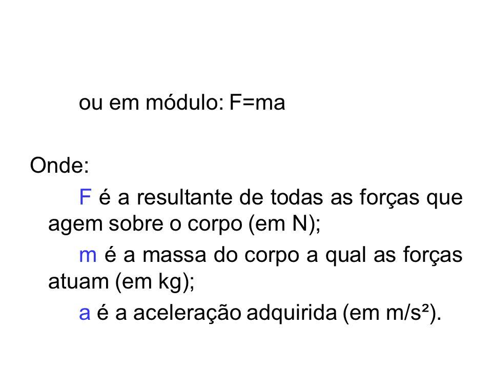 ou em módulo: F=ma Onde: F é a resultante de todas as forças que agem sobre o corpo (em N); m é a massa do corpo a qual as forças atuam (em kg);