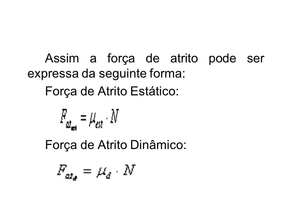 Assim a força de atrito pode ser expressa da seguinte forma: