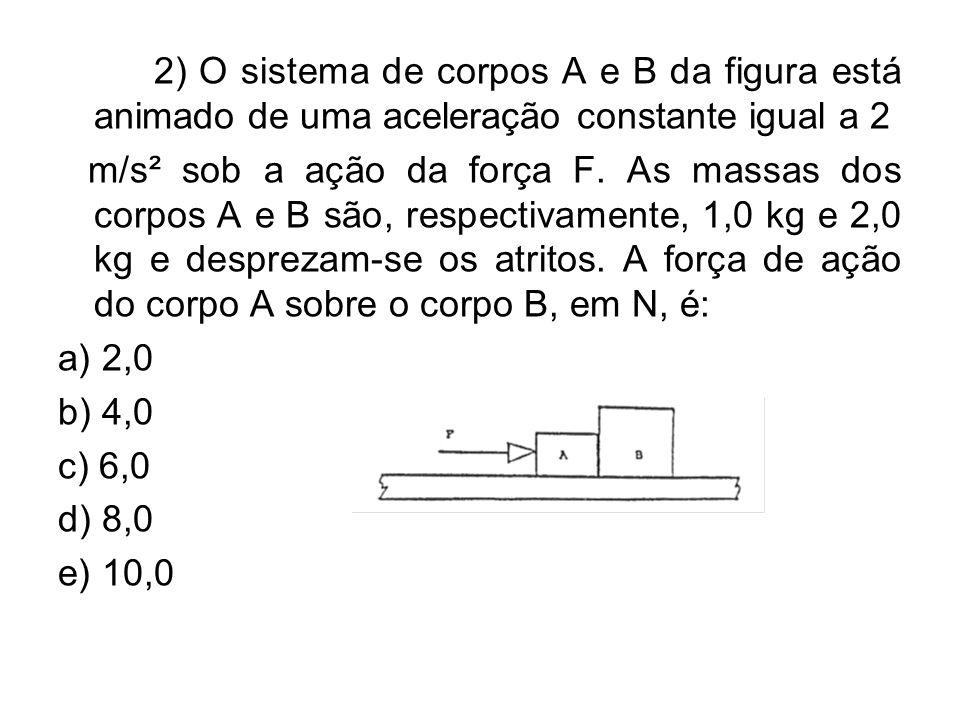 2) O sistema de corpos A e B da figura está animado de uma aceleração constante igual a 2