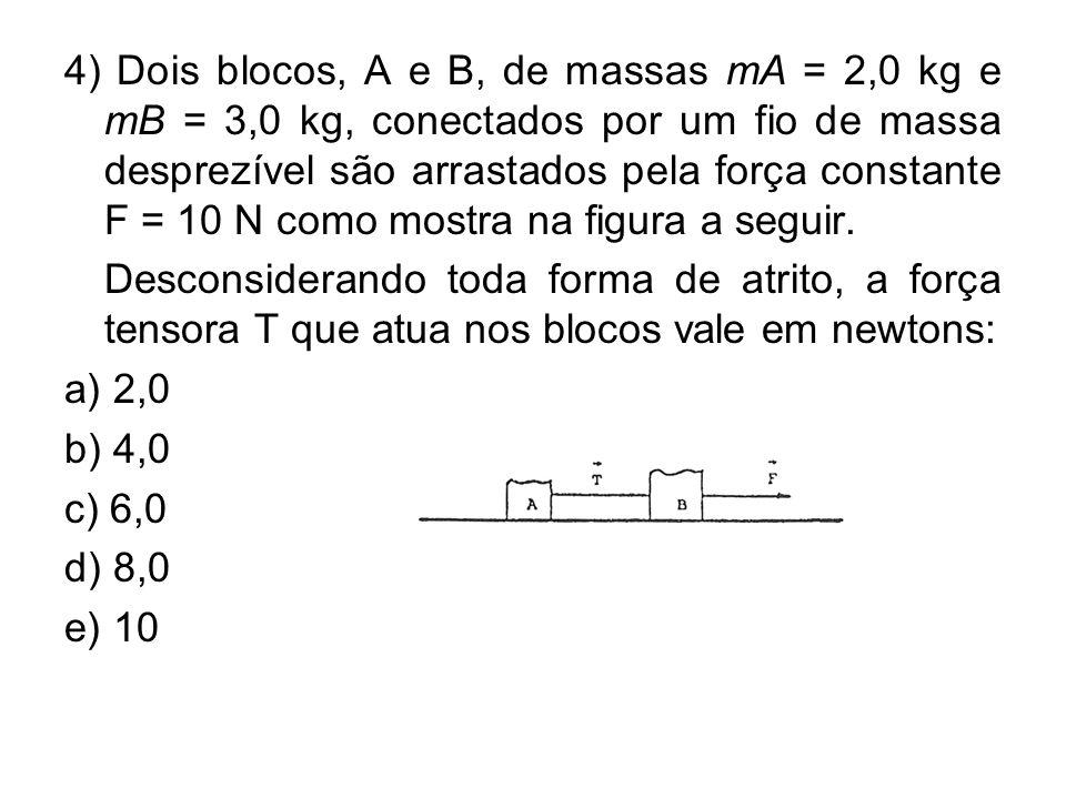 4) Dois blocos, A e B, de massas mA = 2,0 kg e mB = 3,0 kg, conectados por um fio de massa desprezível são arrastados pela força constante F = 10 N como mostra na figura a seguir.