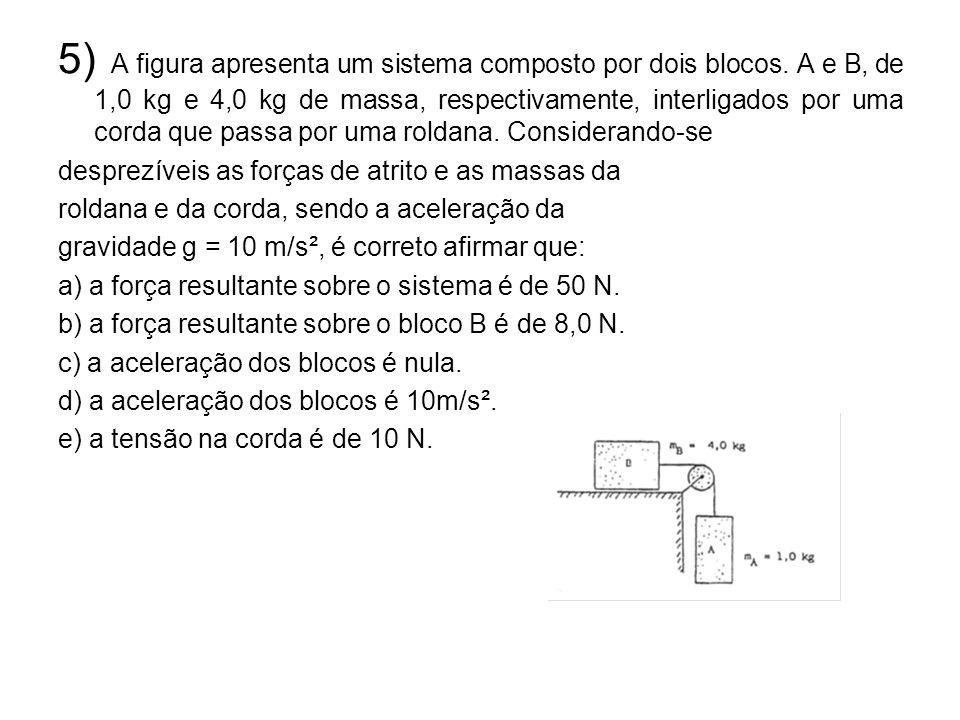 5) A figura apresenta um sistema composto por dois blocos
