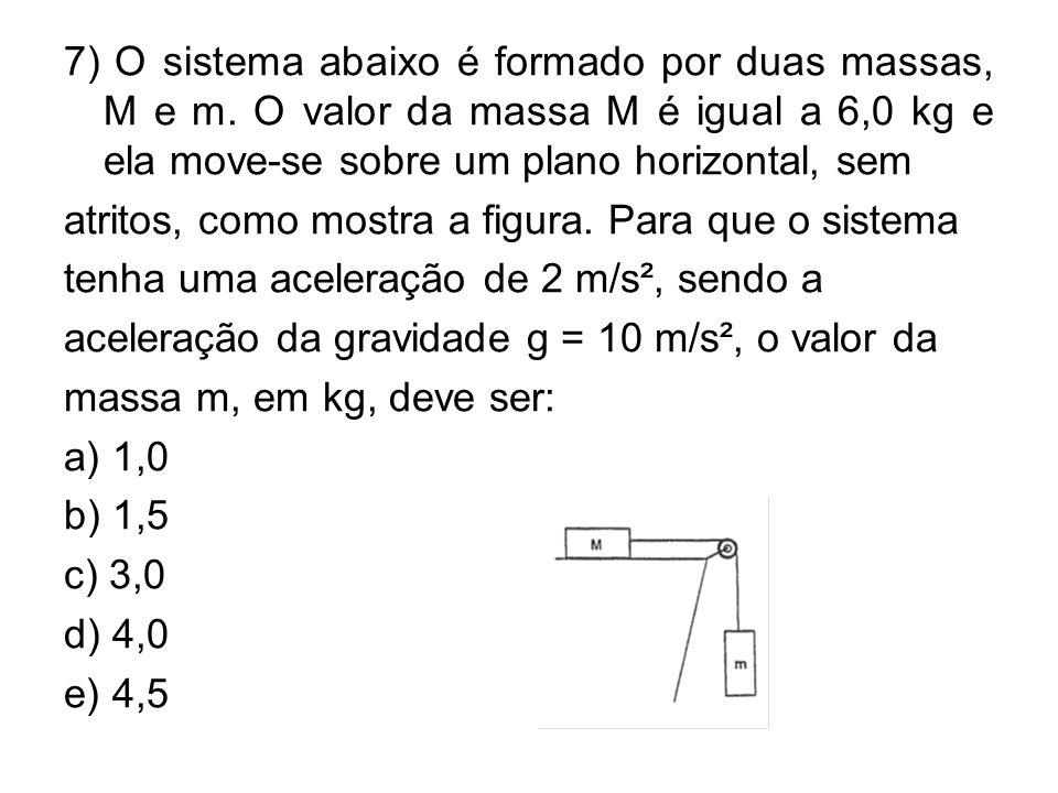 7) O sistema abaixo é formado por duas massas, M e m