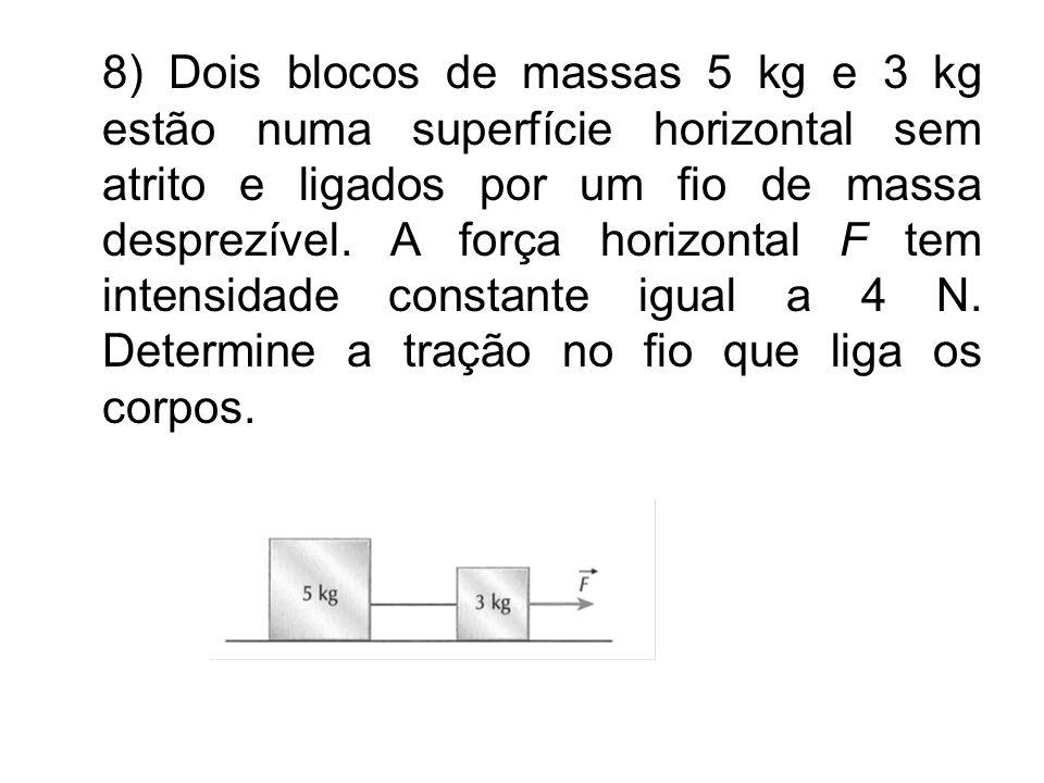 8) Dois blocos de massas 5 kg e 3 kg estão numa superfície horizontal sem atrito e ligados por um fio de massa desprezível.