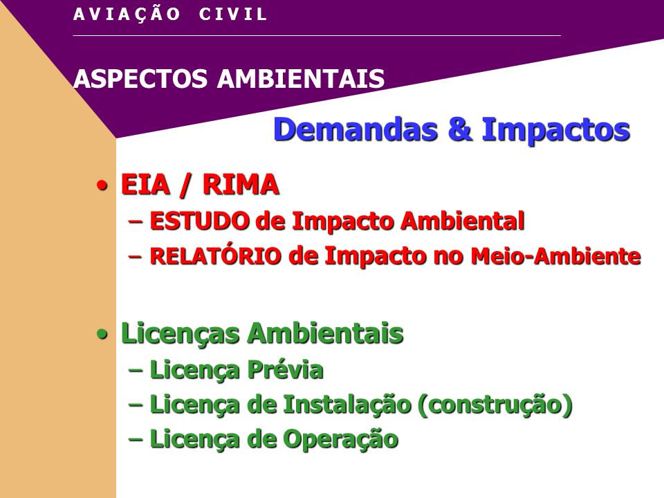 Demandas & Impactos EIA / RIMA Licenças Ambientais