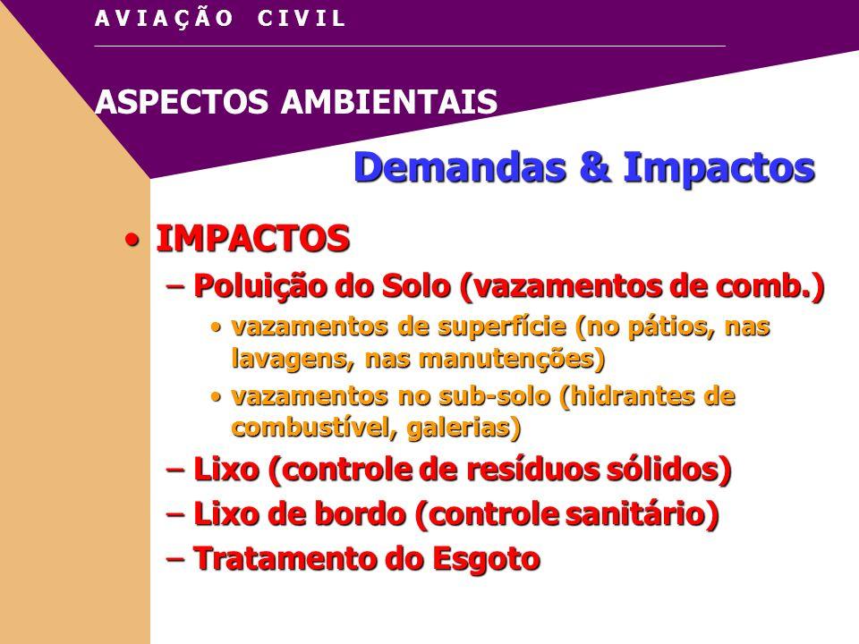 Demandas & Impactos IMPACTOS Poluição do Solo (vazamentos de comb.)