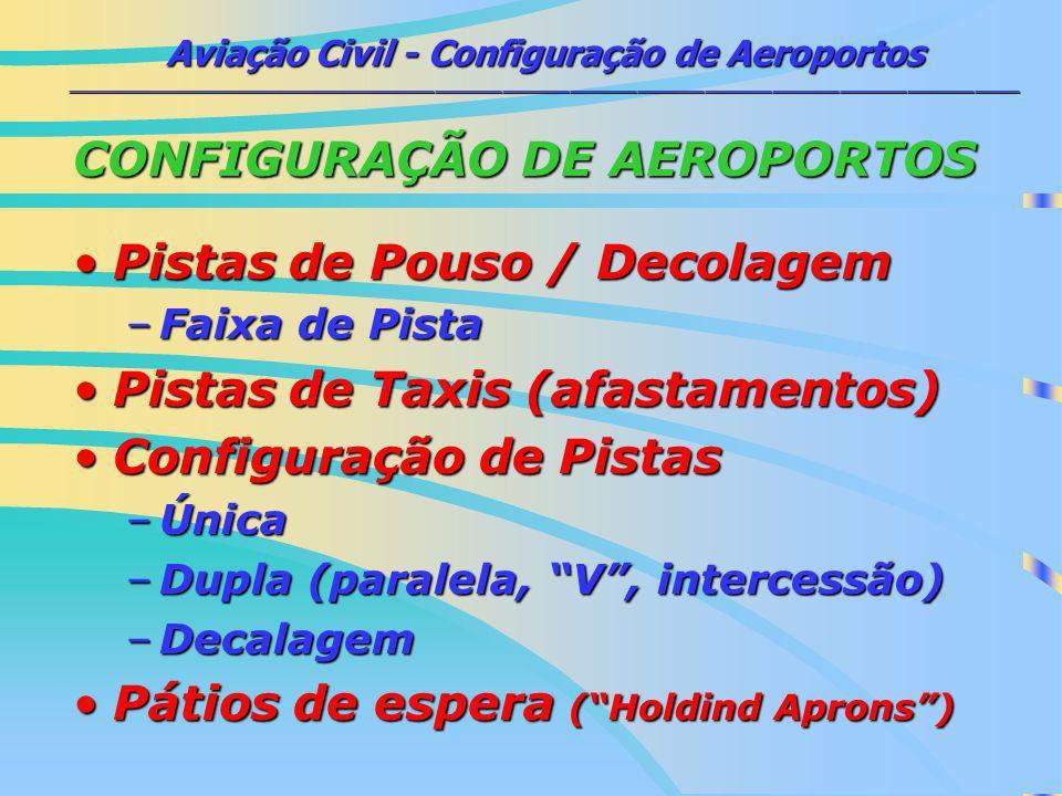 CONFIGURAÇÃO DE AEROPORTOS Pistas de Pouso / Decolagem
