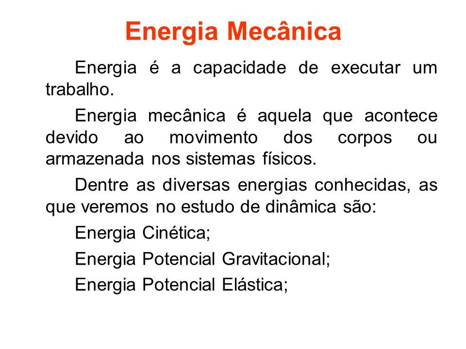 Energia Mecânica Energia é a capacidade de executar um trabalho.