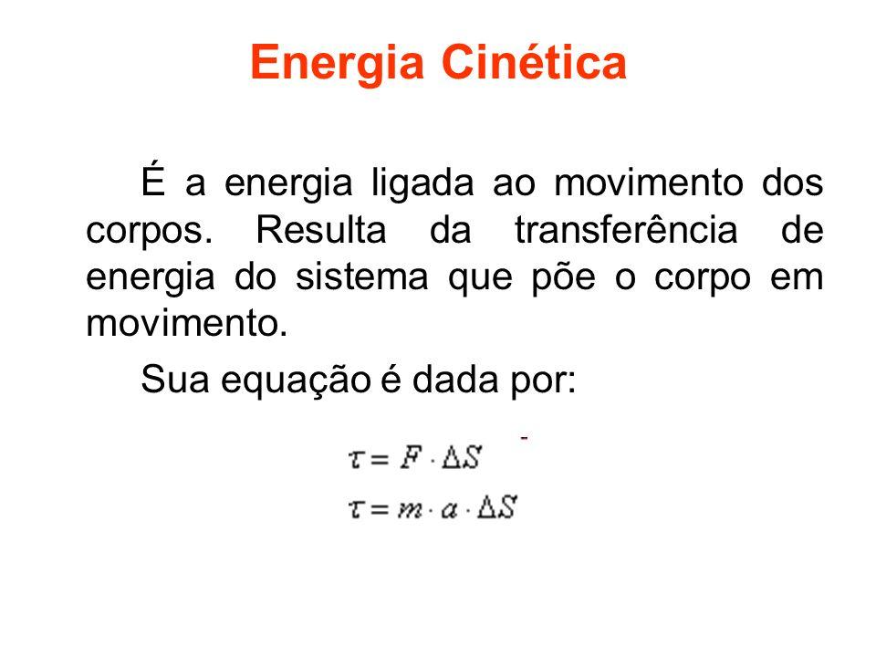 Energia Cinética É a energia ligada ao movimento dos corpos. Resulta da transferência de energia do sistema que põe o corpo em movimento.