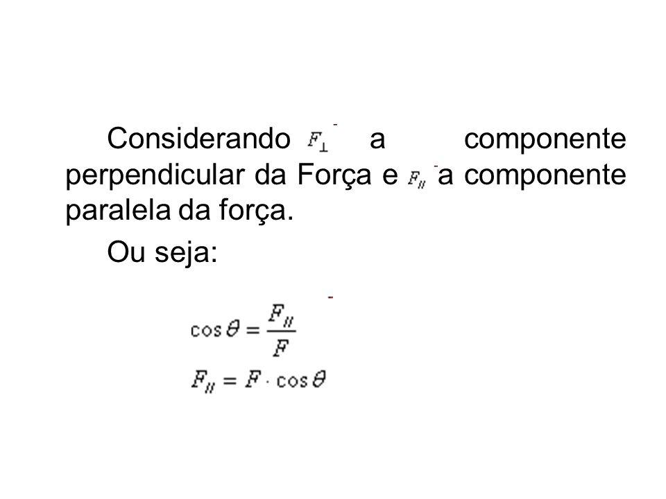 Considerando a componente perpendicular da Força e a componente paralela da força.