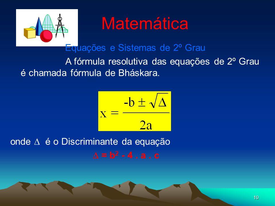 Equações e Sistemas de 2º Grau