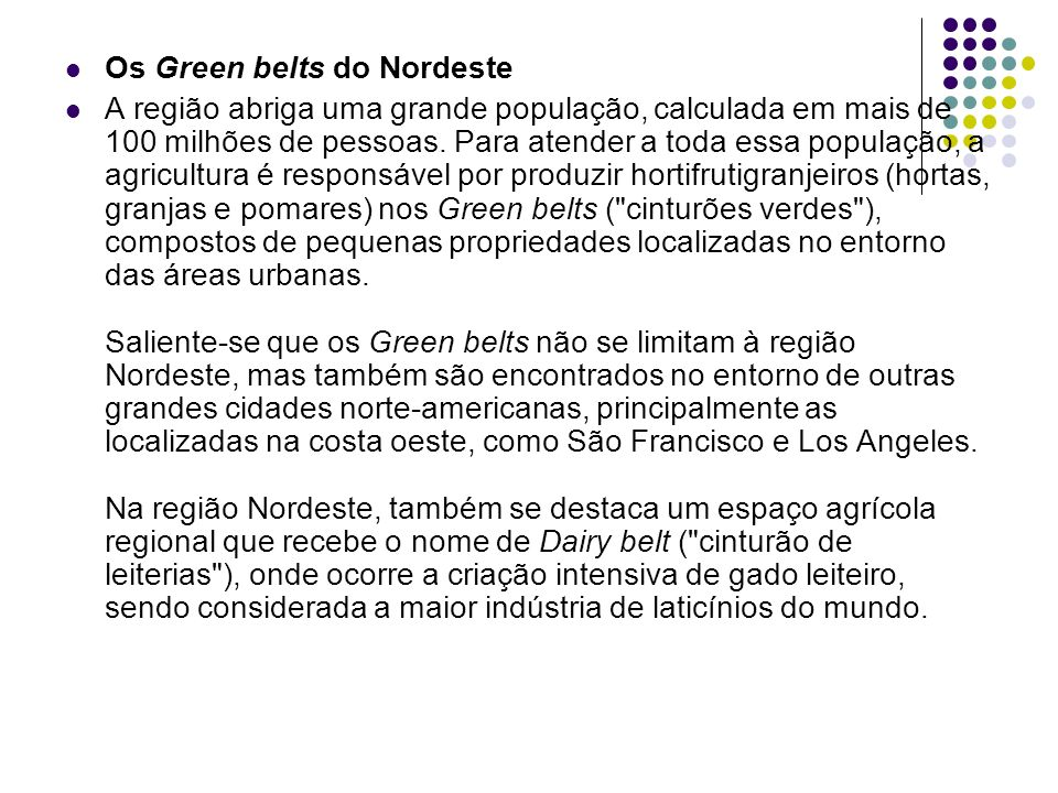 Os Green belts do Nordeste