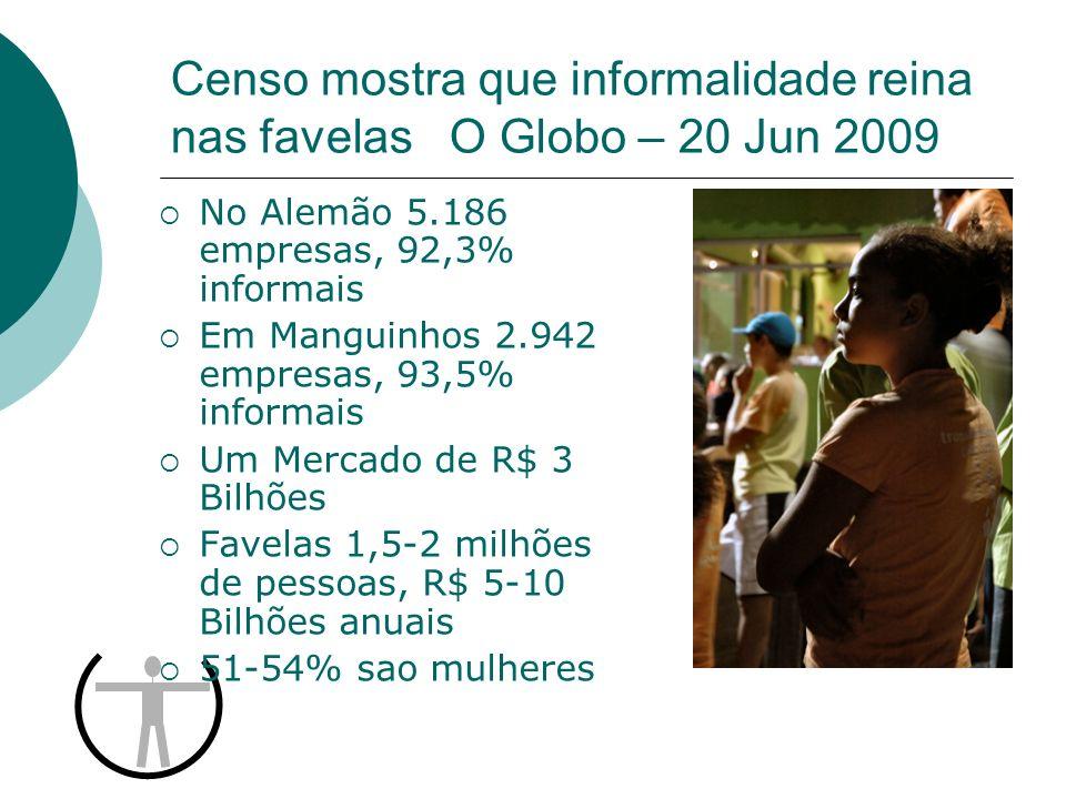 Censo mostra que informalidade reina nas favelas O Globo – 20 Jun 2009