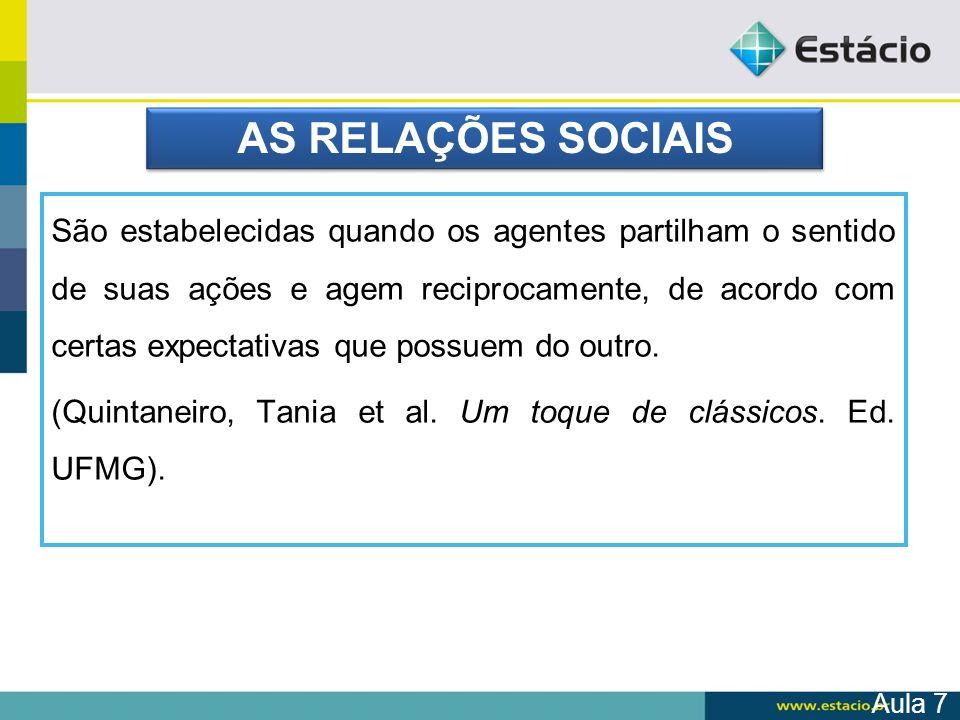 AS RELAÇÕES SOCIAIS
