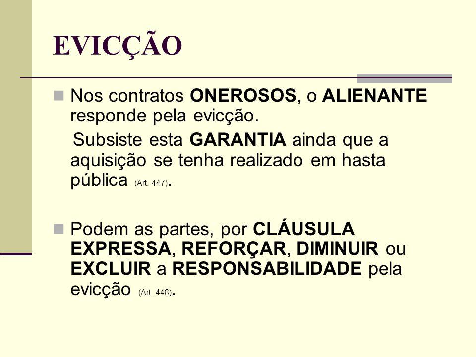 EVICÇÃO Nos contratos ONEROSOS, o ALIENANTE responde pela evicção.