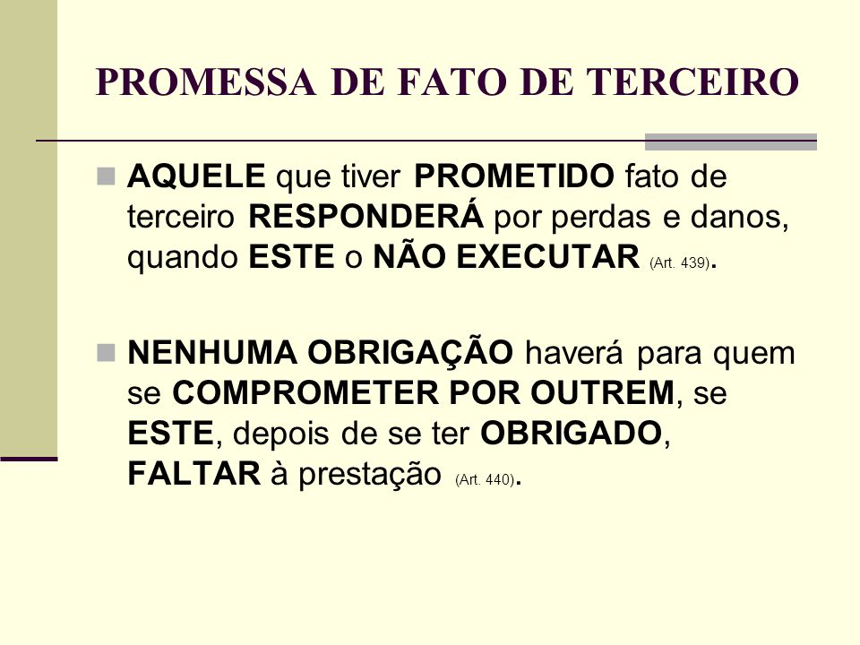PROMESSA DE FATO DE TERCEIRO