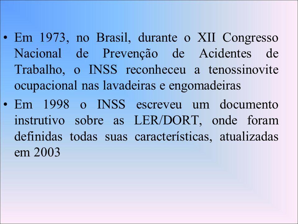 Em 1973, no Brasil, durante o XII Congresso Nacional de Prevenção de Acidentes de Trabalho, o INSS reconheceu a tenossinovite ocupacional nas lavadeiras e engomadeiras
