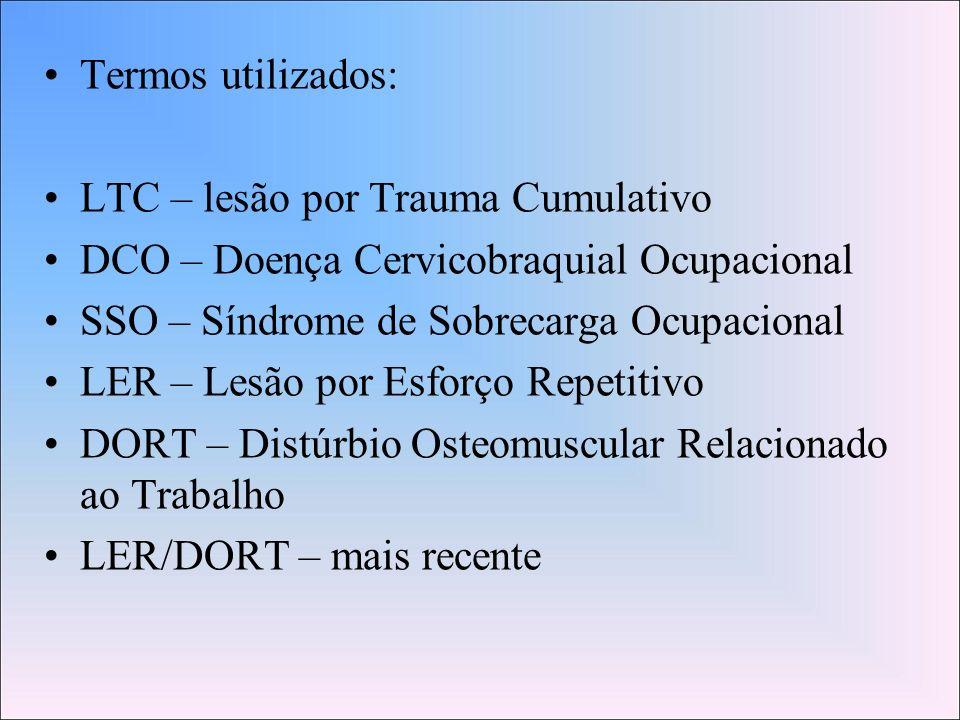 Termos utilizados:LTC – lesão por Trauma Cumulativo. DCO – Doença Cervicobraquial Ocupacional. SSO – Síndrome de Sobrecarga Ocupacional.