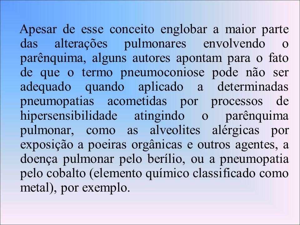Apesar de esse conceito englobar a maior parte das alterações pulmonares envolvendo o parênquima, alguns autores apontam para o fato de que o termo pneumoconiose pode não ser adequado quando aplicado a determinadas pneumopatias acometidas por processos de hipersensibilidade atingindo o parênquima pulmonar, como as alveolites alérgicas por exposição a poeiras orgânicas e outros agentes, a doença pulmonar pelo berílio, ou a pneumopatia pelo cobalto (elemento químico classificado como metal), por exemplo.