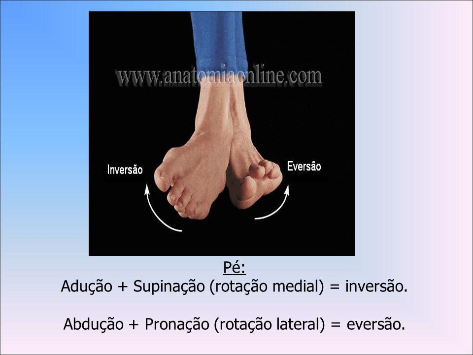 Adução + Supinação (rotação medial) = inversão.