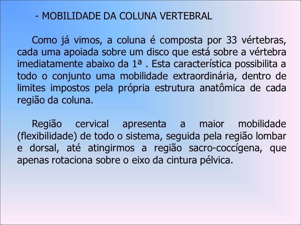 - MOBILIDADE DA COLUNA VERTEBRAL