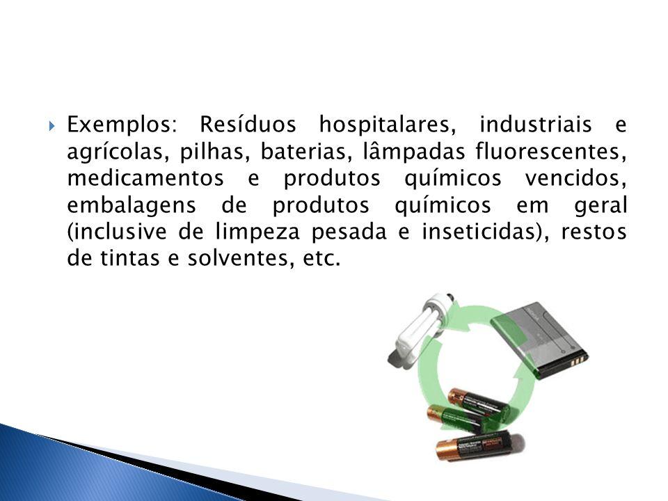 Exemplos: Resíduos hospitalares, industriais e agrícolas, pilhas, baterias, lâmpadas fluorescentes, medicamentos e produtos químicos vencidos, embalagens de produtos químicos em geral (inclusive de limpeza pesada e inseticidas), restos de tintas e solventes, etc.
