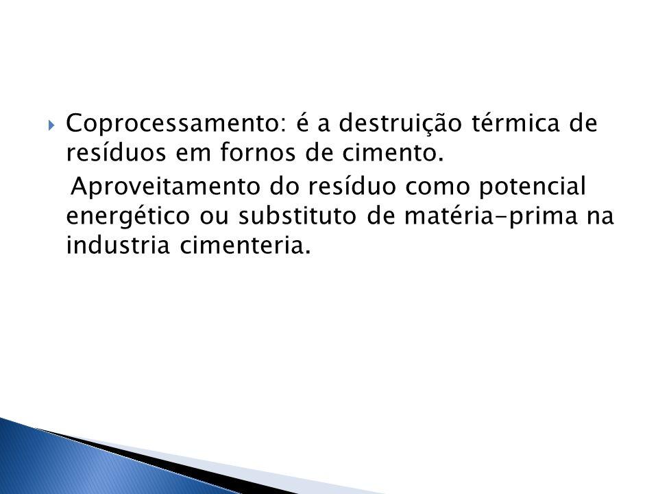 Coprocessamento: é a destruição térmica de resíduos em fornos de cimento.