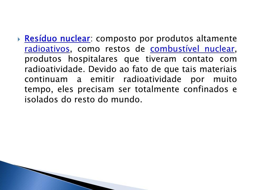 Resíduo nuclear: composto por produtos altamente radioativos, como restos de combustível nuclear, produtos hospitalares que tiveram contato com radioatividade.