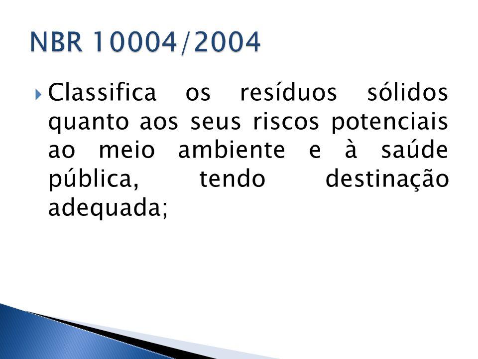 NBR 10004/2004Classifica os resíduos sólidos quanto aos seus riscos potenciais ao meio ambiente e à saúde pública, tendo destinação adequada;