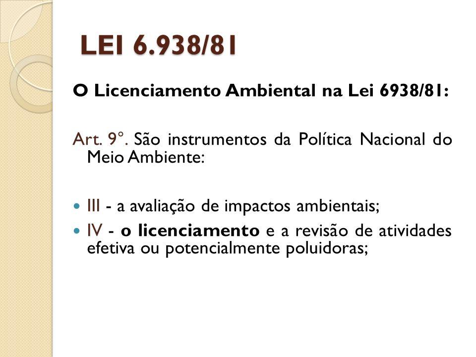 LEI 6.938/81 O Licenciamento Ambiental na Lei 6938/81: