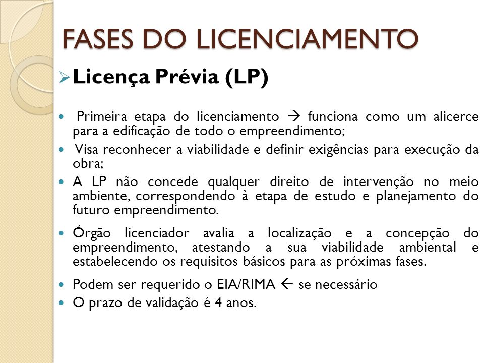 FASES DO LICENCIAMENTO