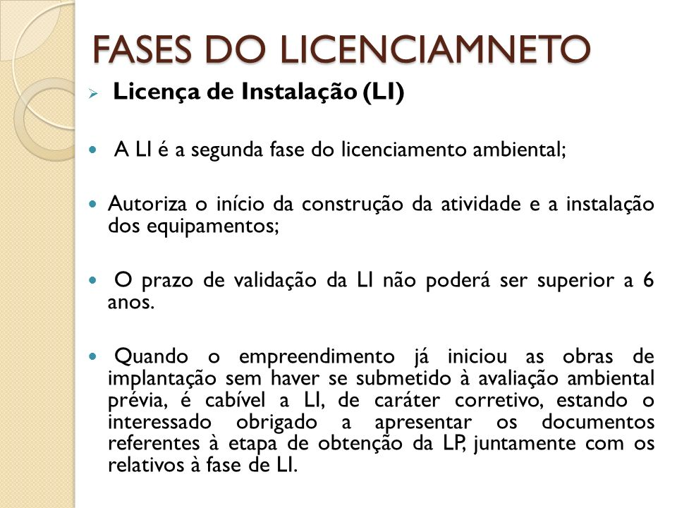 FASES DO LICENCIAMNETO