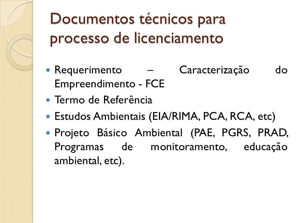 Documentos técnicos para processo de licenciamento