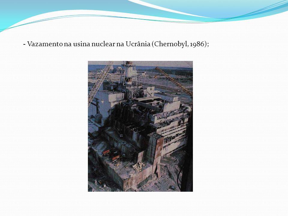 Vazamento na usina nuclear na Ucrânia (Chernobyl, 1986);