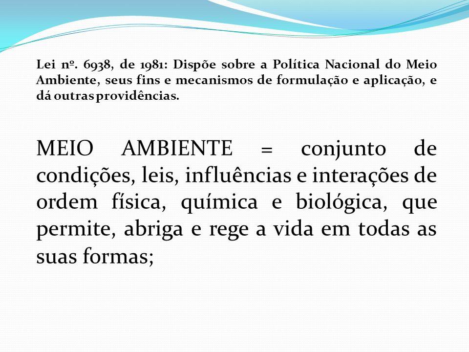 Lei nº. 6938, de 1981: Dispõe sobre a Política Nacional do Meio Ambiente, seus fins e mecanismos de formulação e aplicação, e dá outras providências.