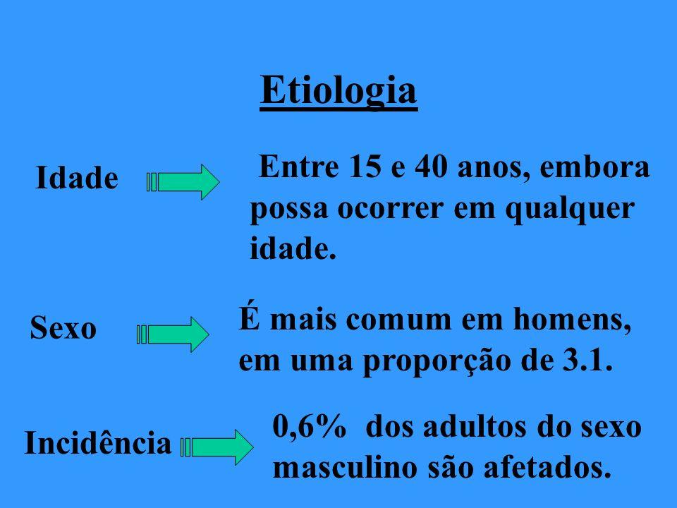 Etiologia Entre 15 e 40 anos, embora possa ocorrer em qualquer idade.