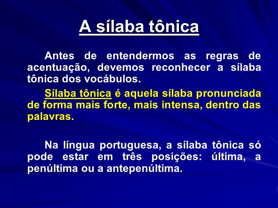 A sílaba tônicaAntes de entendermos as regras de acentuação, devemos reconhecer a sílaba tônica dos vocábulos.