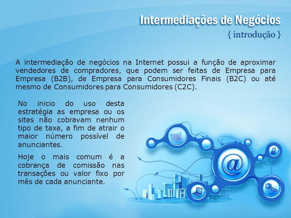 A intermediação de negócios na Internet possui a função de aproximar vendedores de compradores, que podem ser feitas de Empresa para Empresa (B2B), de Empresa para Consumidores Finais (B2C) ou até mesmo de Consumidores para Consumidores (C2C).