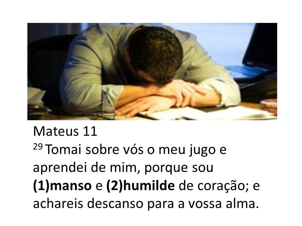 Mateus 11 29 Tomai sobre vós o meu jugo e aprendei de mim, porque sou (1)manso e (2)humilde de coração; e achareis descanso para a vossa alma.