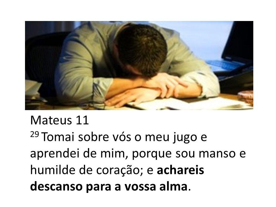Mateus 11 29 Tomai sobre vós o meu jugo e aprendei de mim, porque sou manso e humilde de coração; e achareis descanso para a vossa alma.