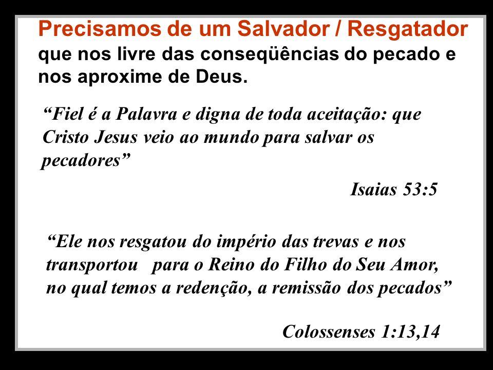 Precisamos de um Salvador / Resgatador que nos livre das conseqüências do pecado e nos aproxime de Deus.