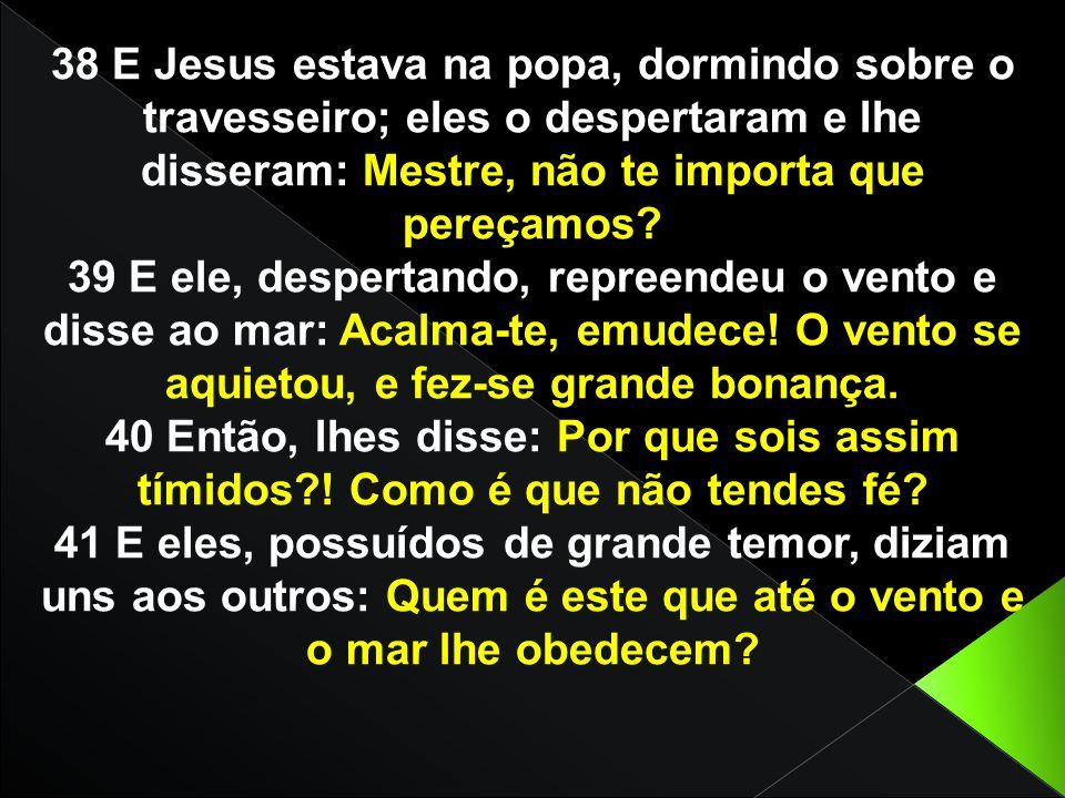 38 E Jesus estava na popa, dormindo sobre o travesseiro; eles o despertaram e lhe disseram: Mestre, não te importa que pereçamos