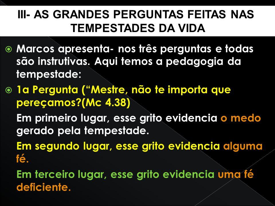 III- AS GRANDES PERGUNTAS FEITAS NAS