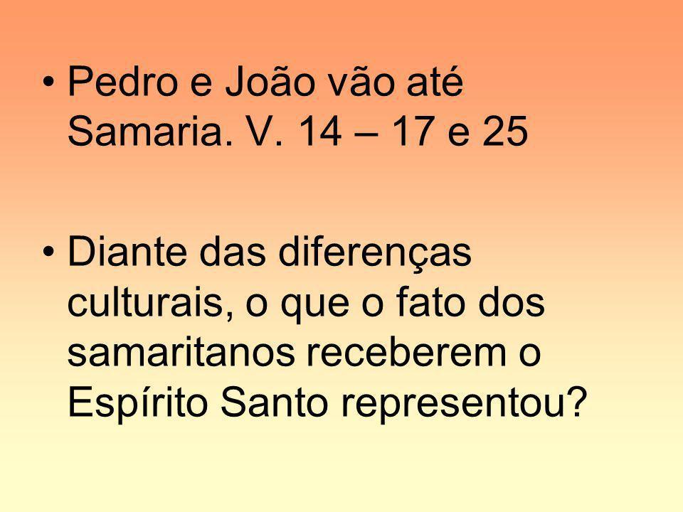 Pedro e João vão até Samaria. V. 14 – 17 e 25